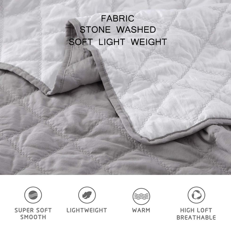 fabric stone washed quilt set