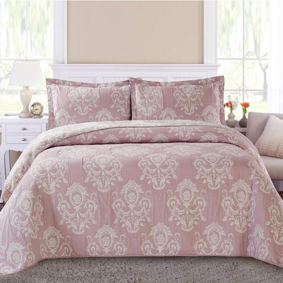 3 Piece Reversible Quilt Set King Jacquard